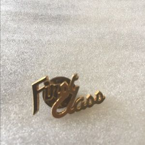 "Pin/ hat- tack pin ""first class""  silver tone"